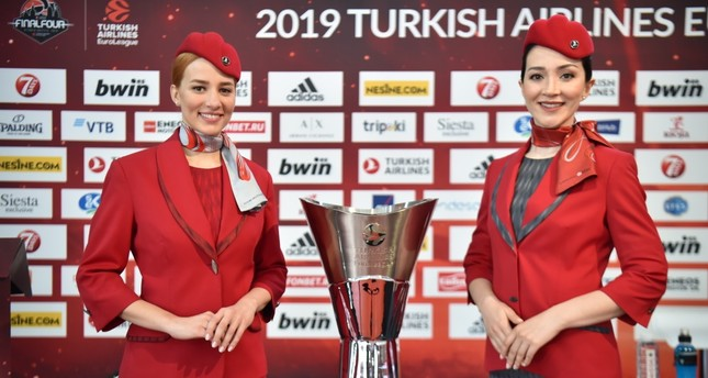 The Turkish Airlines EuroLeague Final Four Cup on display at media day before the semifinals, Vitoria-Gasteiz, Spain, May 16, 2019.