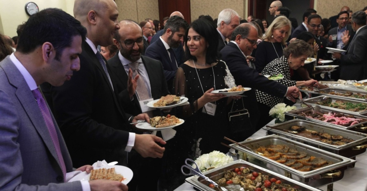 Guests participate in a congressional Iftar event at the U.S. Capitol May 20, 2019 in Washington, DC. (AFP Photo)