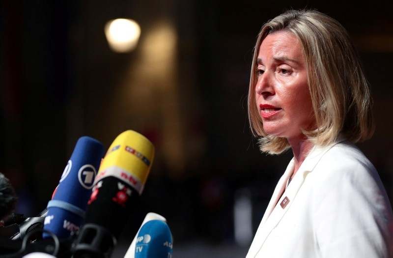 EU High Representative for Foreign Affairs and Security Policy Federica Mogherini talks to the media as she arrives for the informal meeting of European Union leaders ahead of the EU summit, in Salzburg, Austria, September 19, 2018. (Reuters Photo)