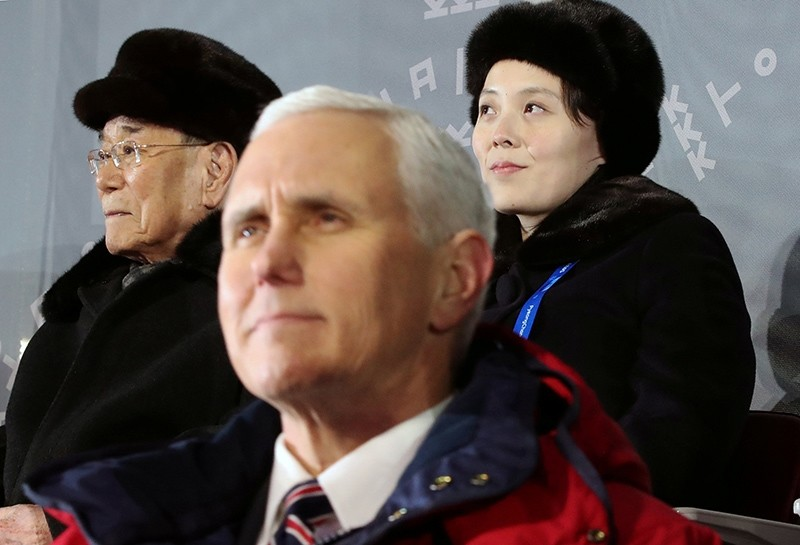 Kim Yo Jong, top right, sister of North Korean leader Kim Jong Un, sits behind U.S. Vice President Mike Pence as she watches the opening ceremony of the 2018 Winter Olympics in Pyeongchang, South Korea, Feb. 9, 2018. (AP Photo)