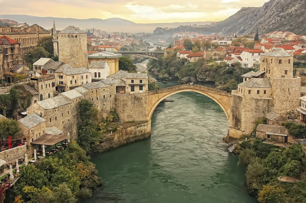A general view of Stari Most, the 16th-century Ottoman bridge in the Bosnian city of Mostar.
