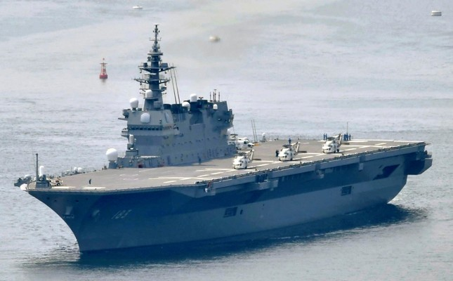 This May, 2017, photo shows Japanese Maritime Self-Defense Force's helicopter carrier Izumo. (Kyodo News via AP)