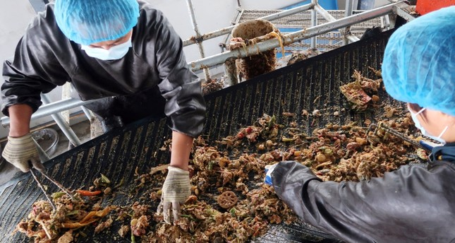 Workers sort kitchen waste to feed cockroaches at a waste processing facility on the outskirts of Jinan, Shandong province, China.