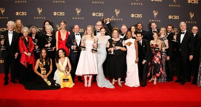 pThe dystopian vision of The Handmaid's Tale, the deeply cynical Washington comedy Veep and the ever-topical Saturday Night Live won top series honors Sunday in an Emmy Awards ceremony that took...