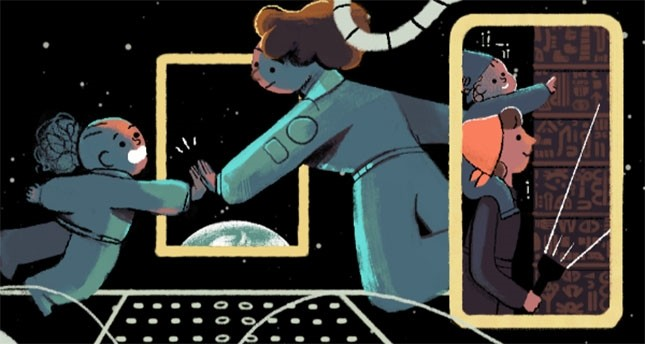 Google doodle from March 8, 2016. Halet u00c7ambel appears holding a flashlight on the right. (Source: Google)
