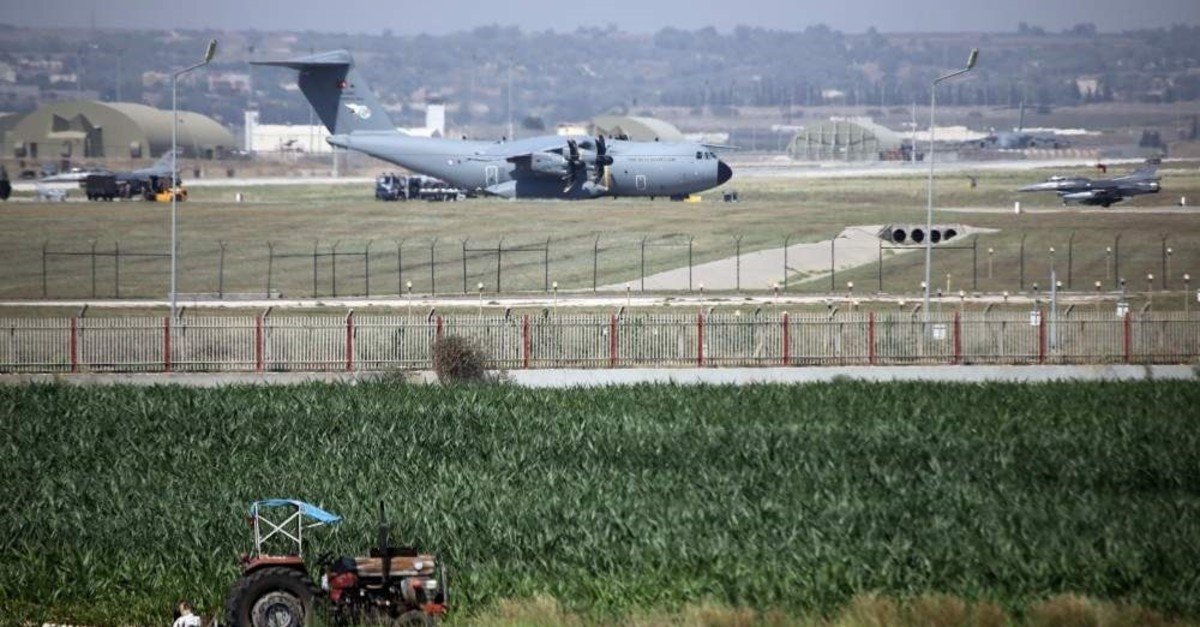 A military aircraft of the Turkish Air Force lands at the Incirlik 10th tanker base command in the district of Saru0131u00e7am, Adana, July 24, 2015 (AA File Photo)