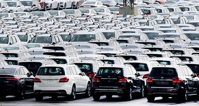 Cars of German car maker Mercedes Benz are parked at the automotive terminal at the port of Bremerhaven, northern Germany, 23 July 2017 (EPA Photo)