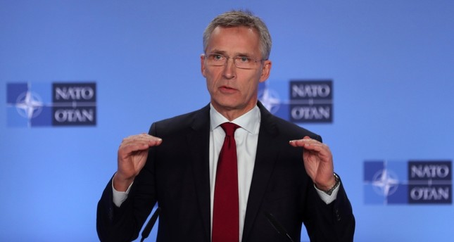 NATO Secretary General Jens Stoltenberg talks to journalists during a press conference at the NATO headquarters in Brussels, Monday, Nov. 26, 2018. (AP Photo)