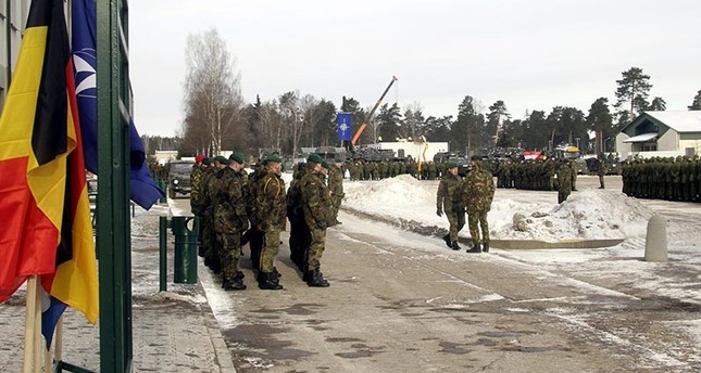 German soldiers attend a welcoming ceremony for the first troops of the NATO enhanced Forward Presence (eFP) battalion group at the Rukla base in Rukla, Lithuania (EPA Photo)