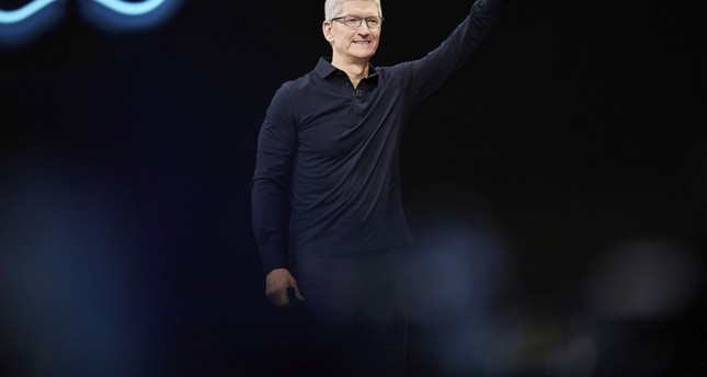 Apple CEO Tim Cook presents the keynote speech during Apple's Worldwide Developers Conference in San Jose, California, June 3, 2019.
