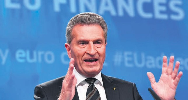 European Commissioner for Budget Günther Oettinger at a press conference in Brussels.