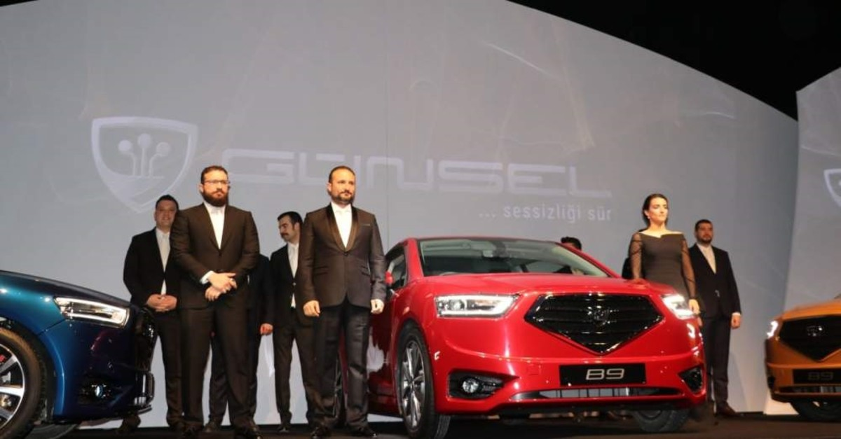 The unveiling ceremony of the TRNC's first domestically produced car. ( AA Photo)