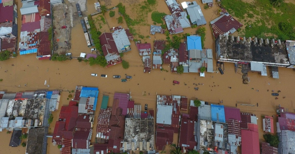This aerial picture taken on April 27, 2019, shows a general view of submerged buildings after heavy rain caused flooding in Bengkulu on the Indonesian island of Sumatra. (AFP Photo)