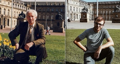 Young traveler recreates grandfather's 30-year-old shots in Germany
