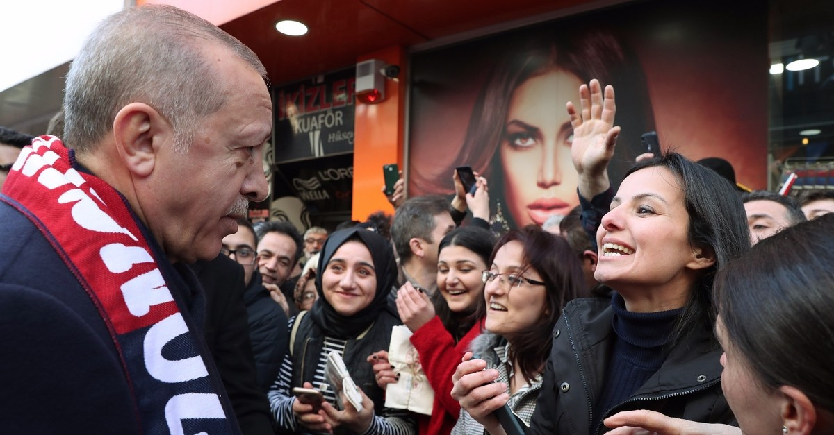 President Recep Tayyip Erdou011fan meets supporters in northern Zonguldak province, March 4, 2019.
