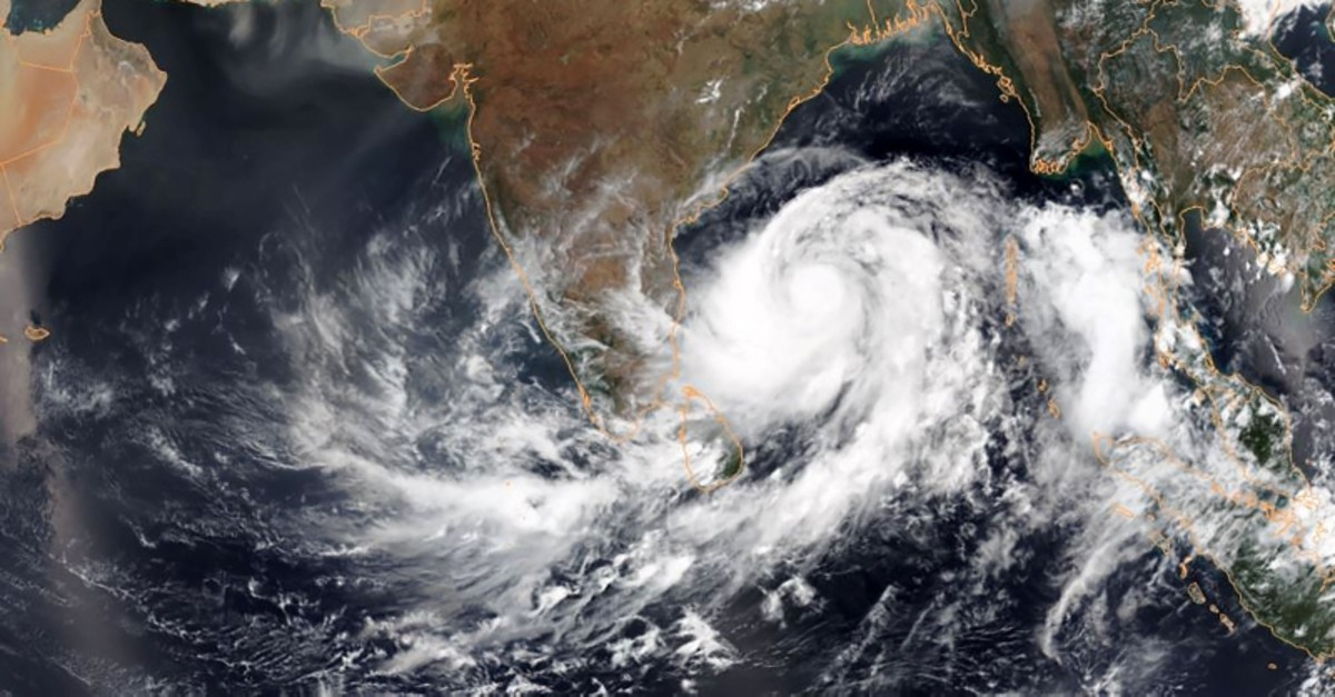 This May 1, 2019, satellite image obtained courtesy of the National Oceanic and Atmospheric Administration (NOAA) shows Tropical Cyclone Fani intensifying in the Bay of Bengal. (AFP Photo)
