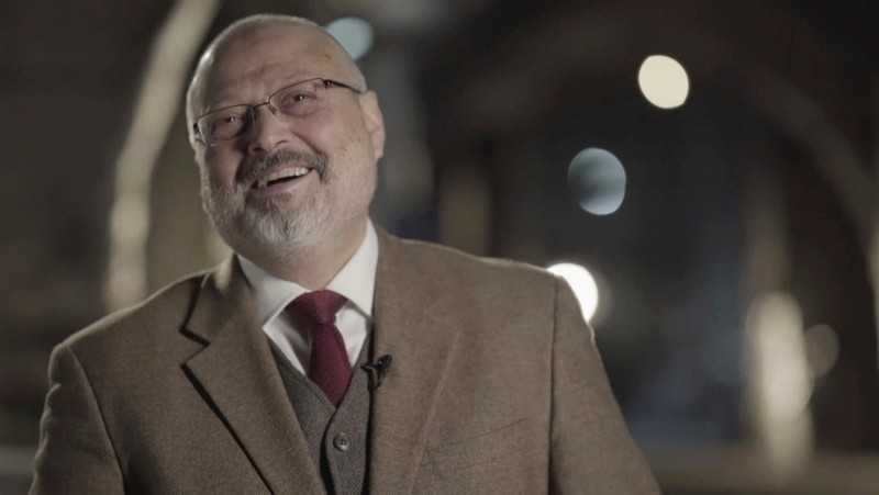 In this image made from a March 2018 video provided by Metafora Production, Jamal Khashoggi speaks during an interview at an undisclosed location. (AP Photo)