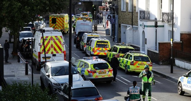 Police vehicles line the street near Parsons Green tube station in London, Britain September 15, 2017. (Reuters Photo)