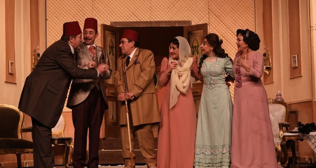 """A scene from the play """"Hisse-i Şayia"""" (""""Bir Evlilik  Komedisi"""") (""""Exclusive Share / A Marriage Comedy"""")."""