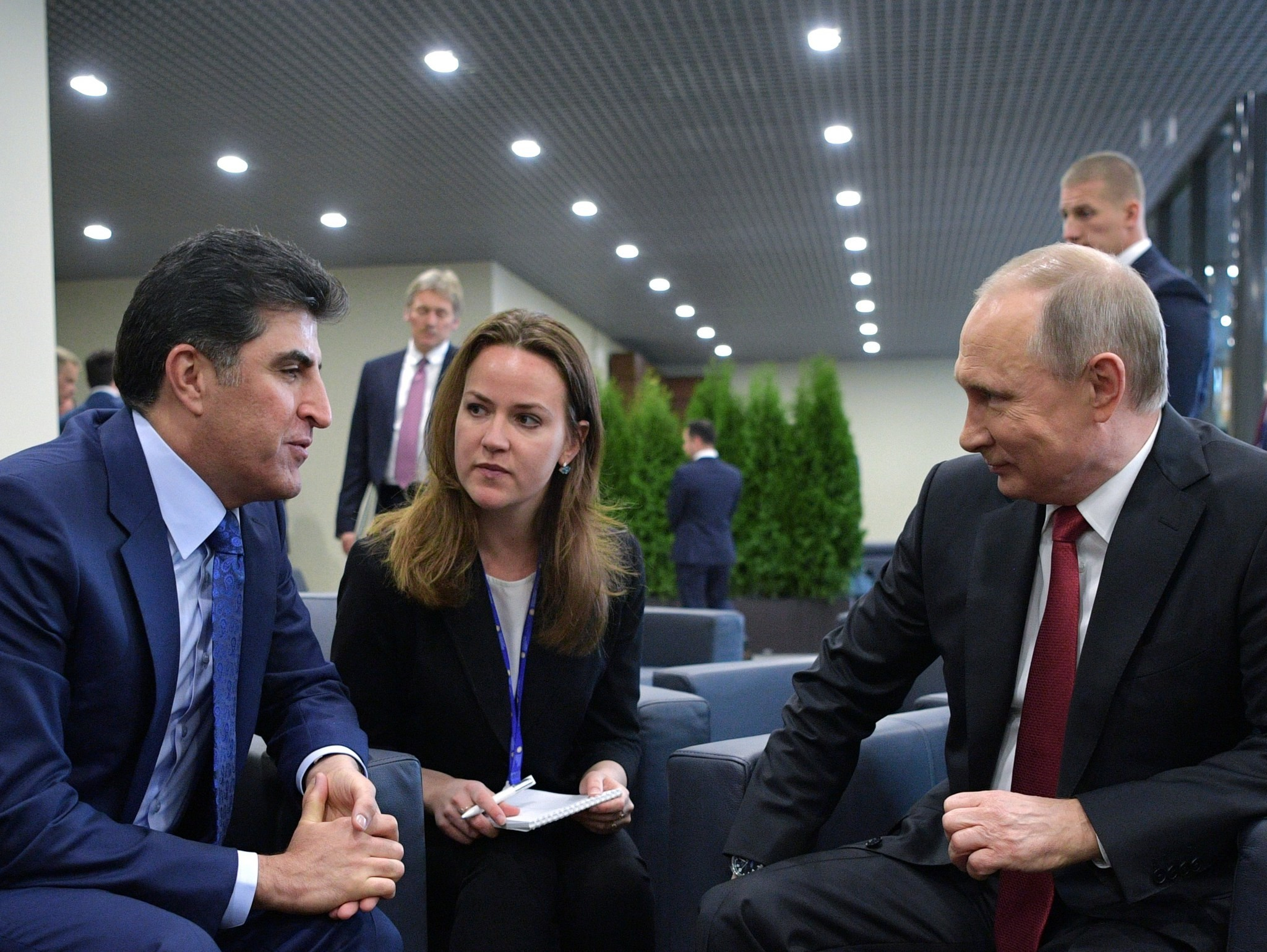 Putin (R) and Prime Minister of the PM of the KRG Nechirvan Barzani (L) meet on the sidelines of the 2017 St. Petersburg International Economic Forum (SPIEF 2017). (EPA Photo)