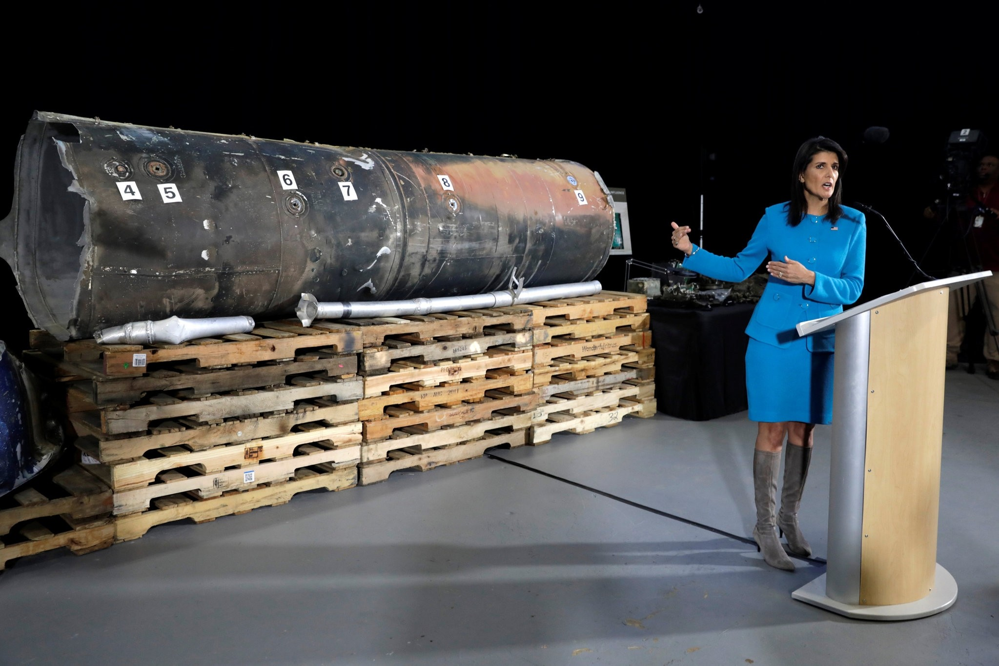 U.S. Ambassador to the United Nations Nikki Haley briefs the media in front of remains of Iranian ,Qiam, ballistic missile provided by Pentagon at Joint Base Anacostia-Bolling in Washington, U.S., December 14, 2017. (REUTERS Photo)