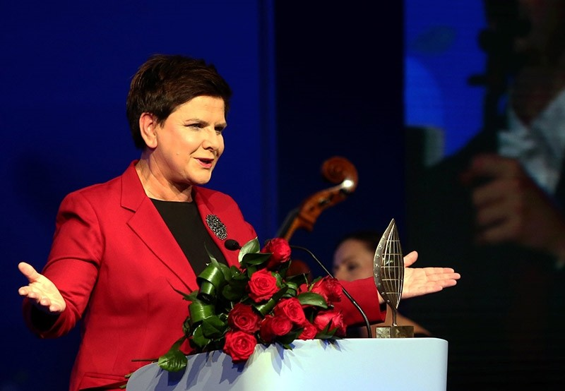 Polish Prime Minister Beata Szydlo delivers a speech after receiving Man of The Year Award of XXVII Economic Forum in Krynica, during a gala at the end of the first day of the Forum in Krynica-Zdroj, Poland, 05 September 2017. (EPA Photo)