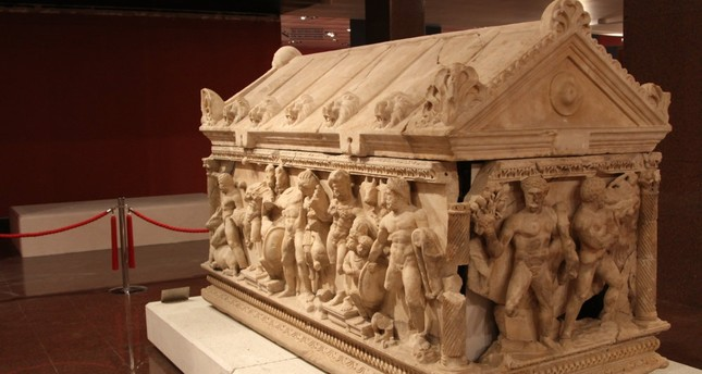 Sarcophagus of Hercules set in place