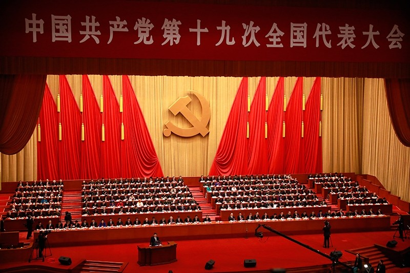 A general view of the hall as Chinese President Xi Jinping delivers his speech during the opening ceremony of the 19th National Congress of the Communist Party of China (CPC) at the Great Hall of the People in Beijing, China, Oct. 2017. (EPA Photo)