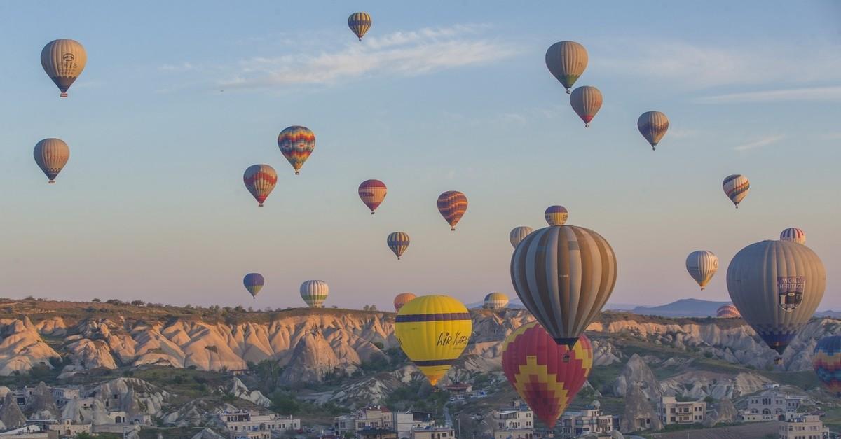 Hot air balloons fly in Turkeyu2019s popular tourism destination Cappadocia.