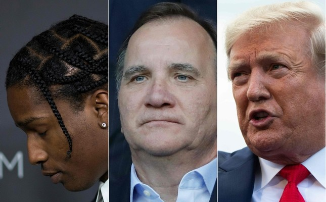 Artist ASAP Rocky L in Los Angeles on October 29, 2016, Swedish Prime minister Stefan Lofven C in Paris on June 24, 2019 and US President Donald Trump R at the White House in Washington, DC on July 24, 2019. Photos by AFP