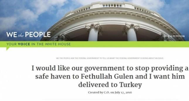 أكثر من 100 ألف توقيع لمطالبة البيت الأبيض بتسليم غولن الى تركيا