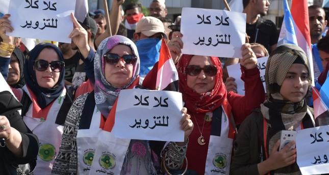 تظاهرة احتجاجية على نتائج الانتخابات النيابية العراقية في كركوك (الأناضول)