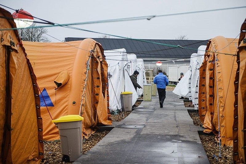 A file photo dated 13 Jan. 2016 showing a view of the refugee tent camp in Thisted, northern Jutland, Denmark. (EPA Photo)