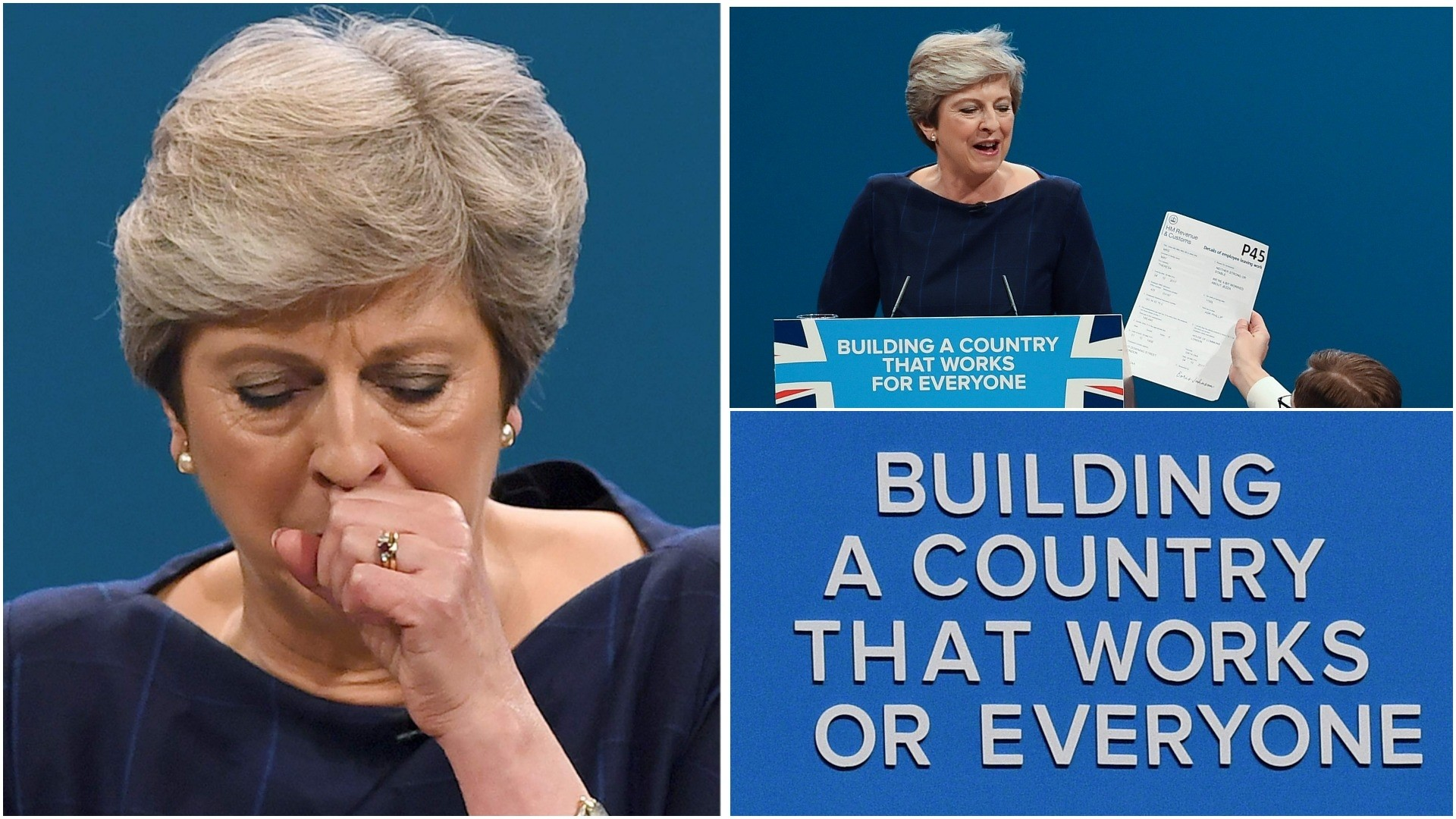 A combination of pictures created on October 4, 2017 shows 3 moments from the speech of Mayu2019s speech on the final day of the Conservative Party annual conference. (AFP Photo)