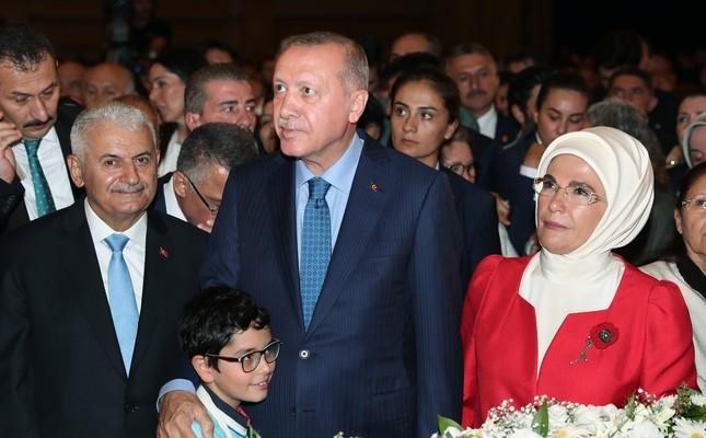 President Recep Tayyip Erdoğan and first lady Emine Erdoğan attend the AK Party's 18th anniversary ceremony, Aug. 23, 2019.