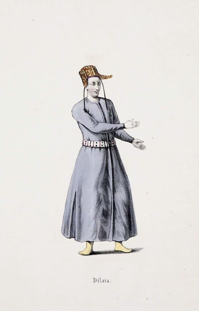 A drawing of a mute servant in the Ottoman court, who had specific signs and hand movements to communicate with others or between them, which was called u201cthe language of the mutes.u201d