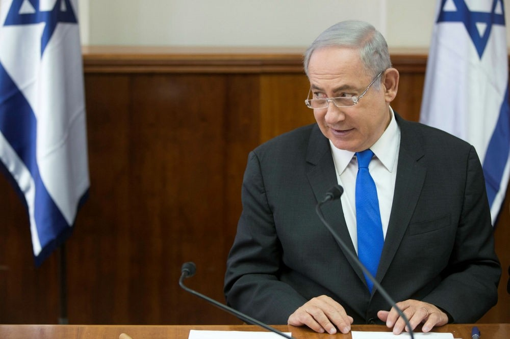 Israeli Prime Minister Benjamin Netanyahu chairs a weekly cabinet meeting at his office in Jerusalem, May 7.