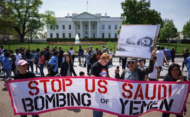 In this file photo taken on April 13, 2017, activists take part in a rally in front of the White House in Washington, DC, to protest against Saudi Arabia's actions in Yemen. AFP Photo