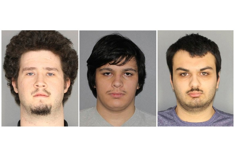 This combination of three Jan. 22, 2019, photographs released by the Greece Police Department in Greece, N.Y., shows Brian Colaneri, from left, Andrew Crysel and Vincent Vetromile. (AP Photo)