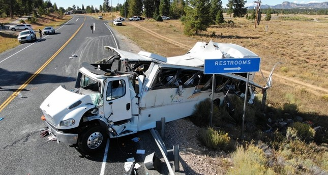 A handout photo made available by the Utah Highway Patrol shows the scene of a multiple-fatality bus crash which occurred on Utah Highway 12 near the Bryce Canyon National Park EPA Photo
