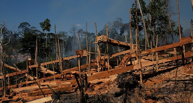 Sluice boxes are seen at a wildcat gold mine,  also known as garimpo, at a deforested area of Amazon rainforest near Crepurizao, in the municipality of Itaituba, Para State, Brazil, August 2, 2017. (Reuters Photo)
