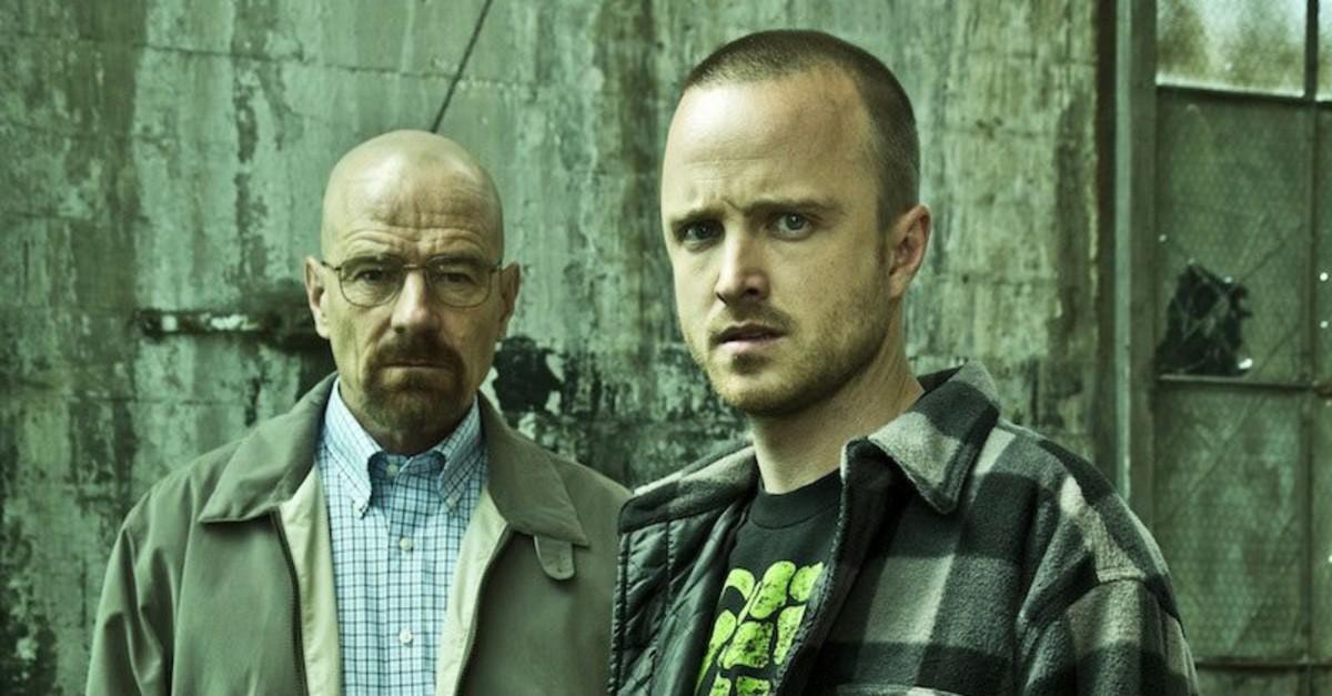 Walter White (Bryan Cranston) and Jesse Pinkman (Aaron Paul) in u201cBreaking Bad.u201d