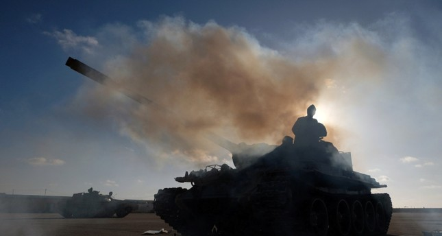 Members of Libyan National Army commanded by Khalifa Haftar prepare to reinforce troops in Benghazi, Libya, on April 13, 2019. (Reuters Photo