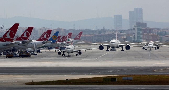 Airplanes taxiing at Atatürk International Airport in Istanbul, Turkey. (Reuters Photo)