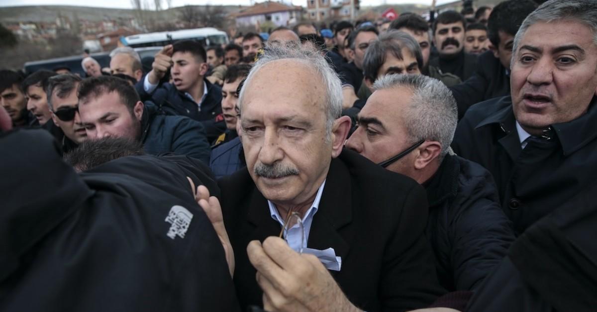CHP leader Kemal Ku0131lu0131u00e7darou011flu was attacked during the funeral of Yener Ku0131ru0131ku00e7u0131, who was killed by PKK terrorists near the  Turkey-Iraq border, April 21, 2019.