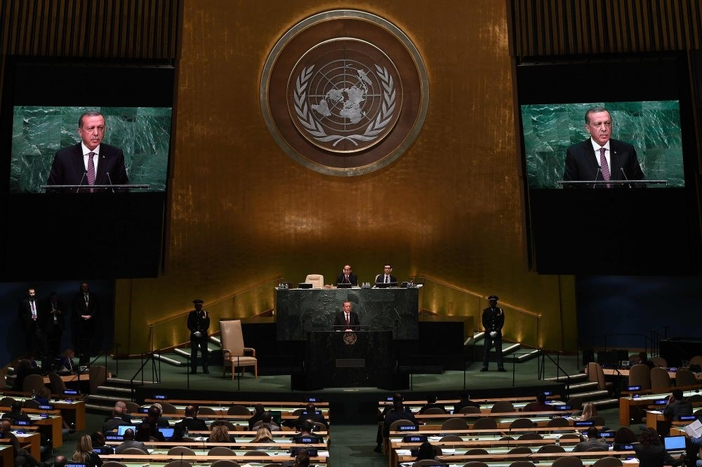 President Erdou011fan addresses the 71st session of the United Nations General Assembly at the U.N. headquarters in New York, Sept. 20, 2016.