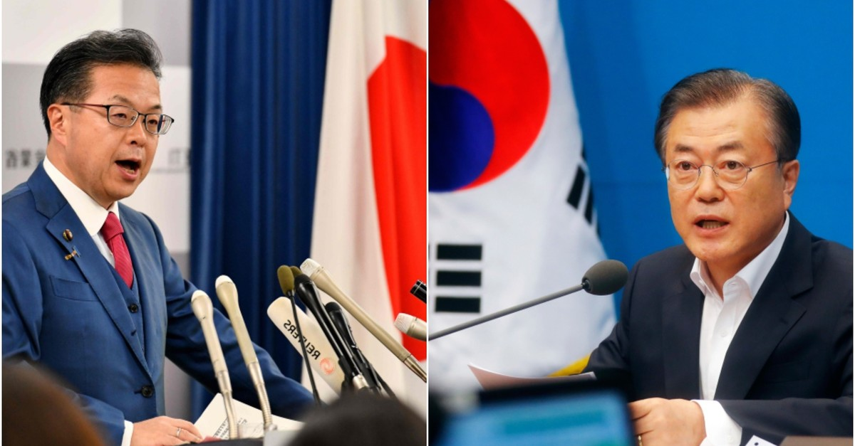 Japan's Economy, Trade and Industry Minister Hiroshige Seko speaks during a press conference in Tokyo; President Moon Jae-in speaks during an emergency cabinet meeting at the presidential Blue House in Seoul on Aug 2, 2019. (AFP/AP Photos)