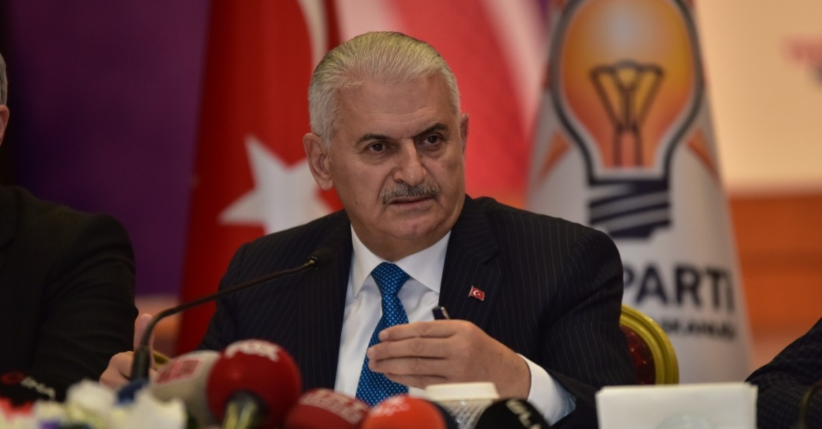 AK Party's Istanbul mayoral candidate Binali Yu0131ldu0131ru0131m speaks during a press conference in Istanbul, April 15, 2019.