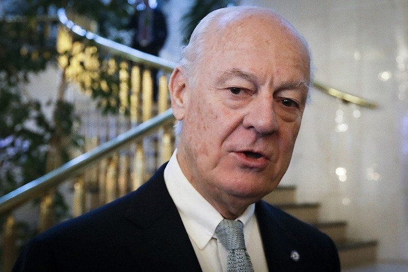 In this Jan. 24, 2017 file photo, U.N. Special Envoy for Syria Staffan de Mistura speaks to journalists as he arrives to attend the talks on Syrian peace, in Astana, Kazakhstan. (AP Photo)