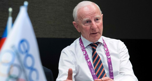 This file photo taken on June 24, 2015 shows President of the European Olympic Committees (EOC) Patrick Hickey of Ireland speaking during an interview at the 2015 European Games in Baku. (AFP Photo)